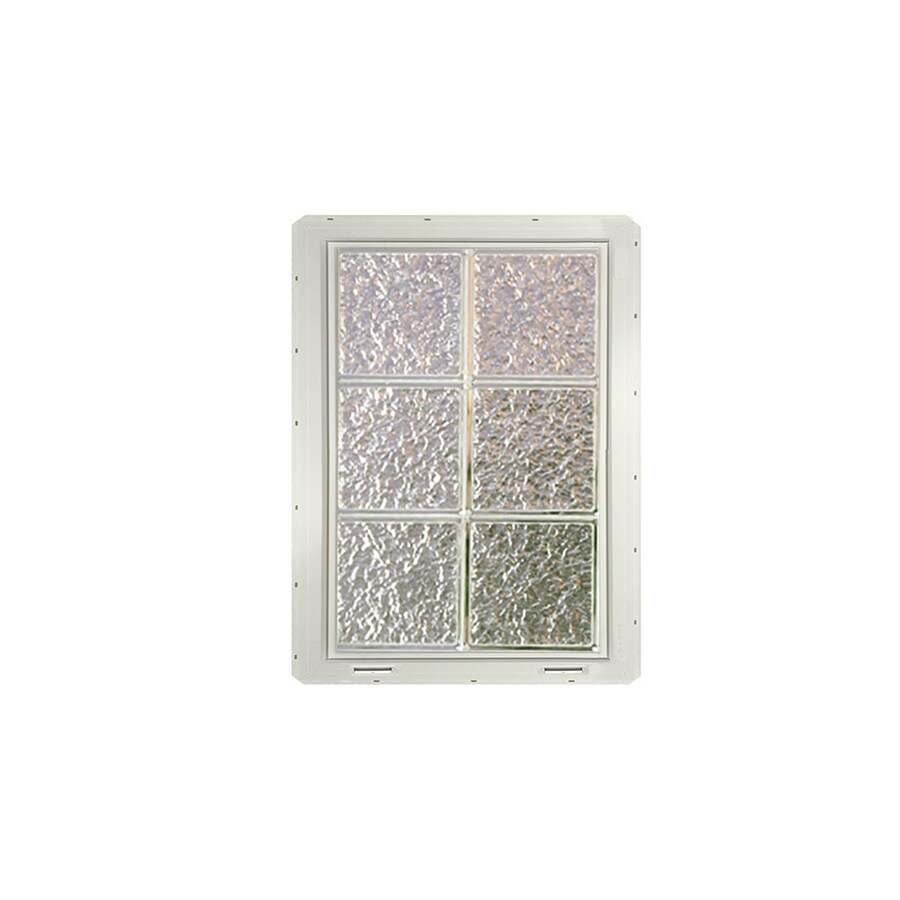 CrystaLok Ice Pattern Vinyl New Construction Glass Block Window (Rough Opening: 17.75-in x 25.5-in; Actual: 16.75-in x 24.25-in)