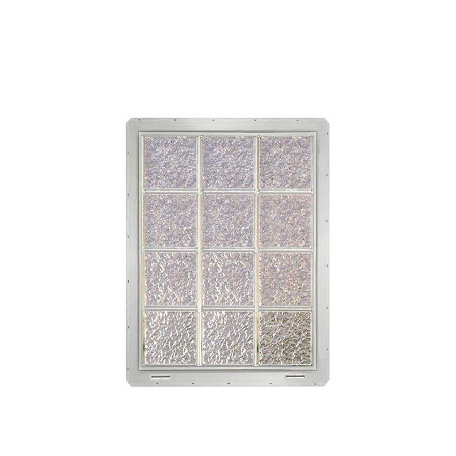 CrystaLok Ice Pattern Vinyl Glass Block Window (Rough Opening: 25.5-in x 33.25-in; Actual: 24.25-in x 31.75-in)