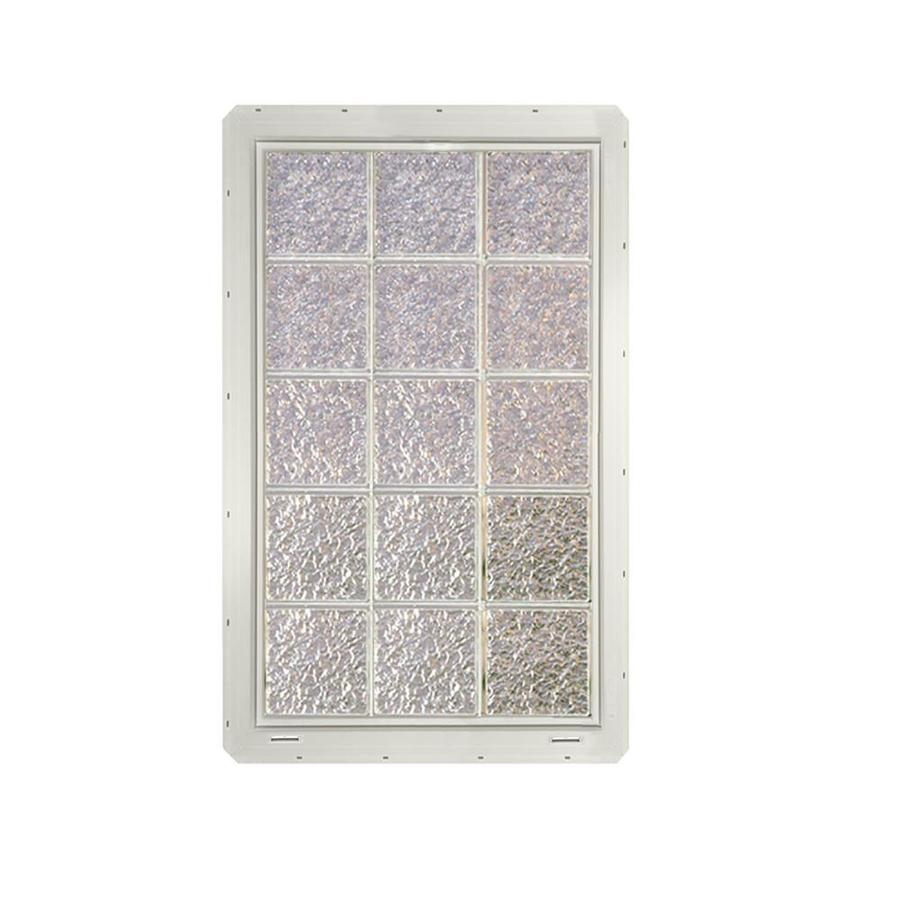 CrystaLok Ice Pattern Vinyl Glass Block Window (Rough Opening: 25.5-in x 41-in; Actual: 24.25-in x 39.25-in)