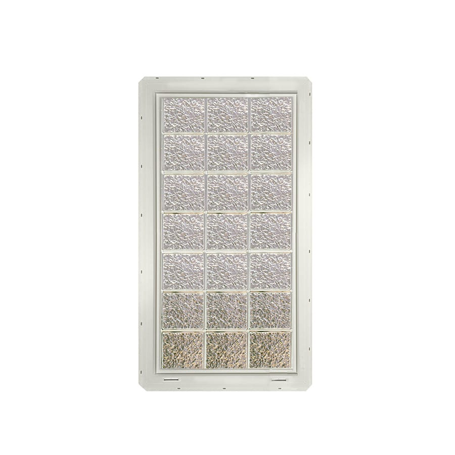 CrystaLok Ice Pattern Vinyl New Construction Glass Block Window (Rough Opening: 25.5-in x 56.5-in; Actual: 24.25-in x 54.25-in)