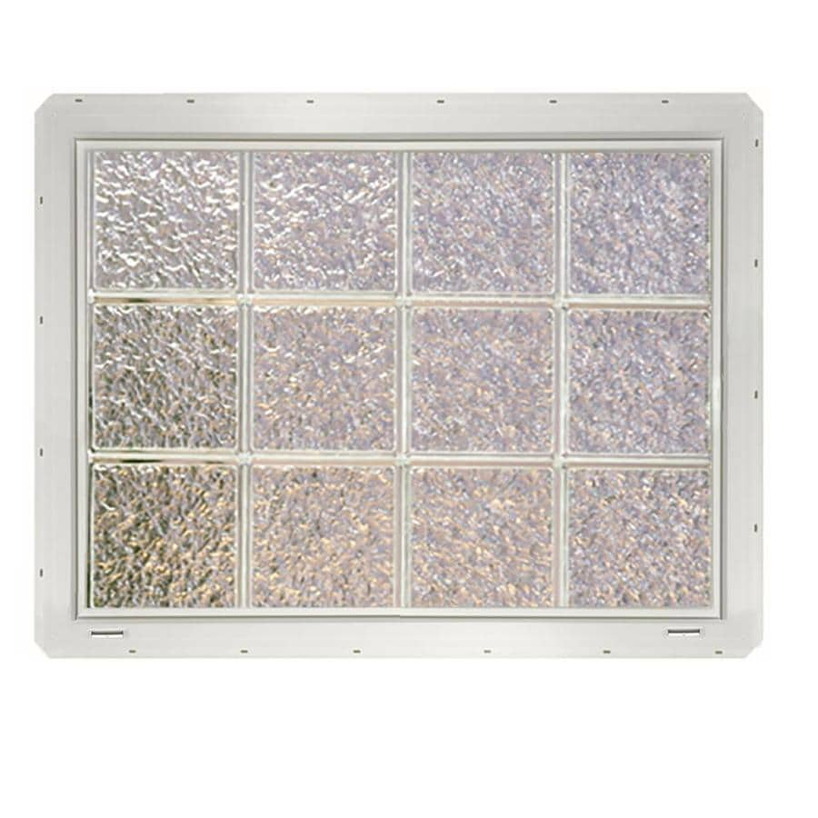 CrystaLok Ice Pattern Vinyl New Construction Glass Block Window (Rough Opening: 33.25-in x 25.5-in; Actual: 31.75-in x 24.25-in)