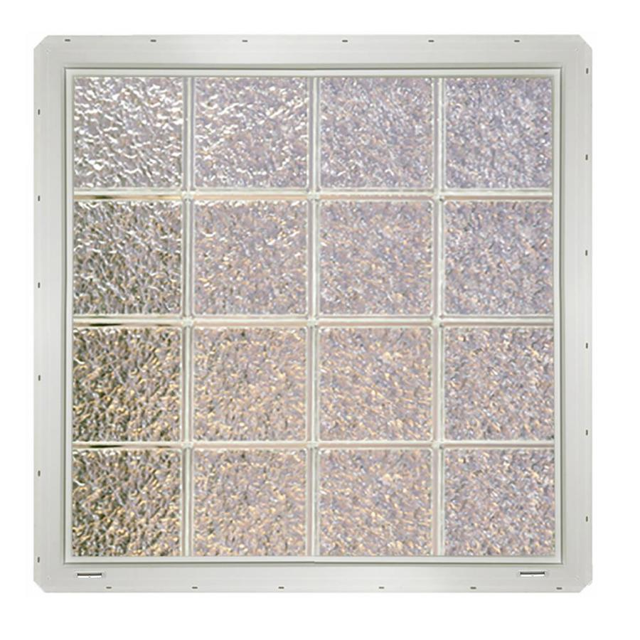 CrystaLok Ice Pattern Vinyl New Construction Glass Block Window (Rough Opening: 33.25-in x 33.25-in; Actual: 31.75-in x 31.75-in)