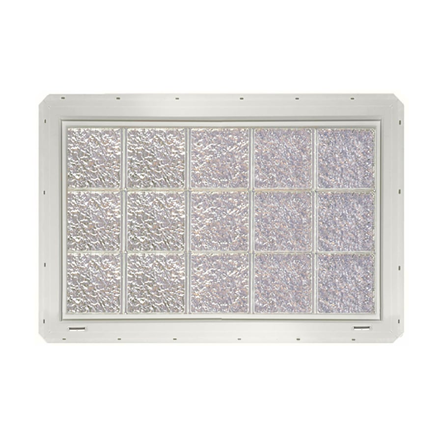 CrystaLok Ice Pattern Vinyl Glass Block Window (Rough Opening: 41-in x 25.5-in; Actual: 39.25-in x 24.25-in)