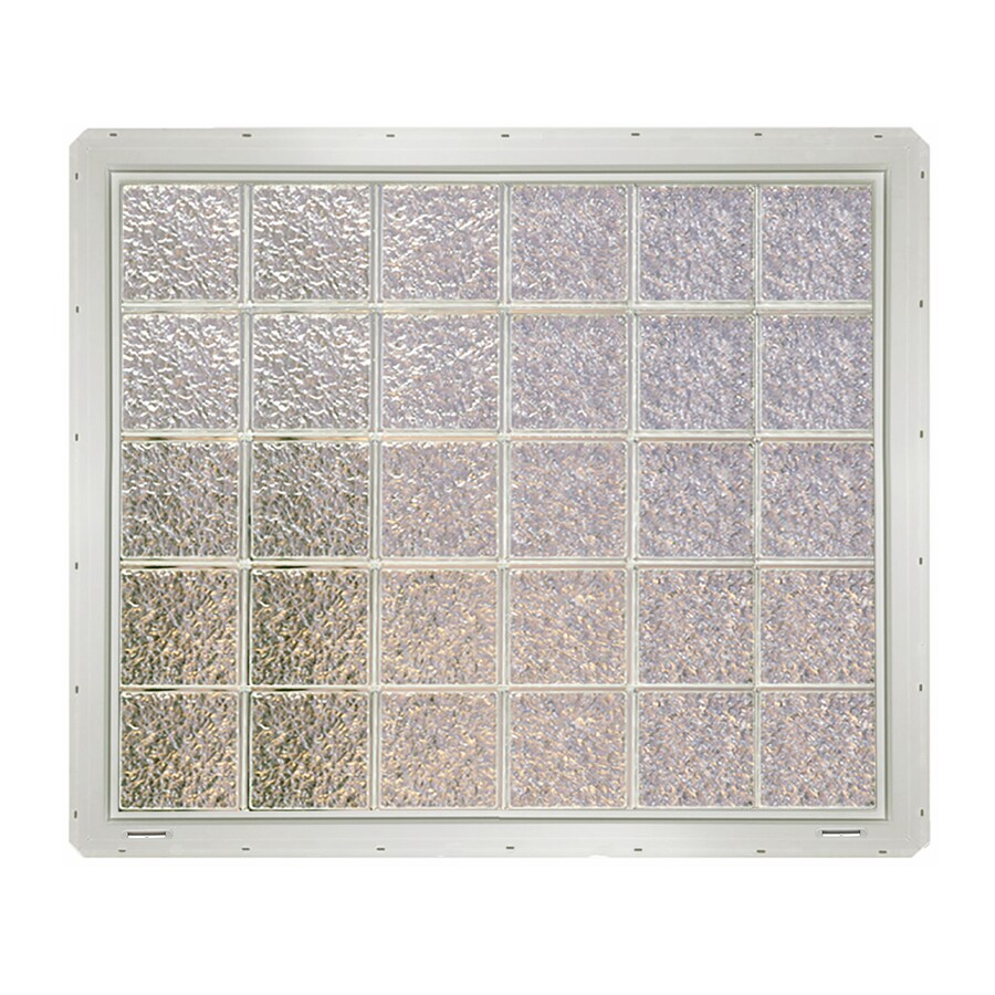 CrystaLok Ice Pattern Vinyl Glass Block Window (Rough Opening: 48.75-in x 41-in; Actual: 46.75-in x 39.25-in)