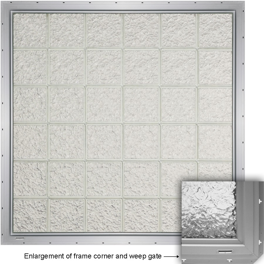 CrystaLok Ice Pattern Vinyl Glass Block Window (Rough Opening: 48.75-in x 64.25-in; Actual: 46.75-in x 61.75-in)