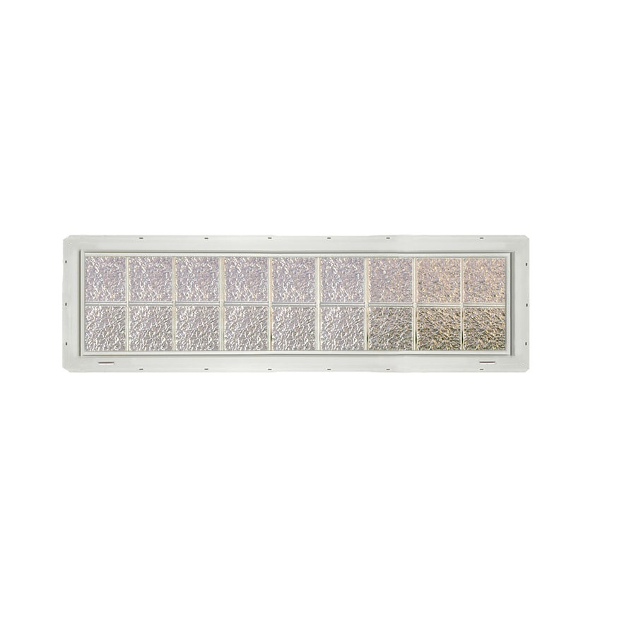 CrystaLok Ice Pattern Vinyl New Construction Glass Block Window (Rough Opening: 72-in x 17.75-in; Actual: 69.25-in x 16.75-in)