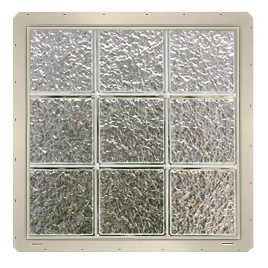 CrystaLok Ice Pattern Vinyl New Construction Glass Block Window (Rough Opening: 25.5-in x 25.5-in; Actual: 24.25-in x 24.25-in)
