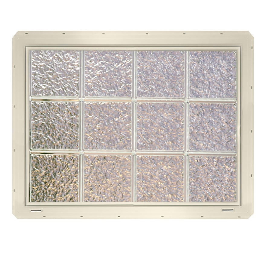 CrystaLok Ice Pattern Vinyl Glass Block Window (Rough Opening: 33.25-in x 25.5-in; Actual: 31.75-in x 24.25-in)
