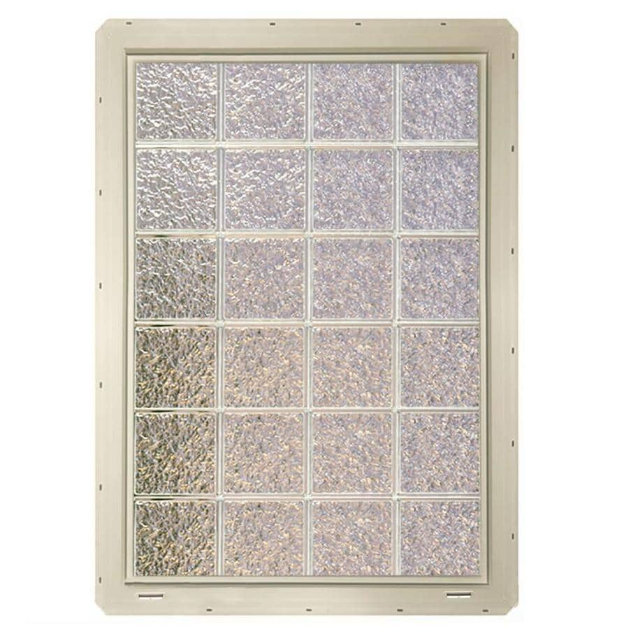 CrystaLok Ice Pattern Vinyl Glass Block Window (Rough Opening: 33.25-in x 48.75-in; Actual: 31.75-in x 46.75-in)