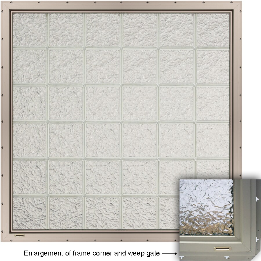 CrystaLok Ice Pattern Vinyl Glass Block Window (Rough Opening: 33.25-in x 79.75-in; Actual: 31.75-in x 76.75-in)