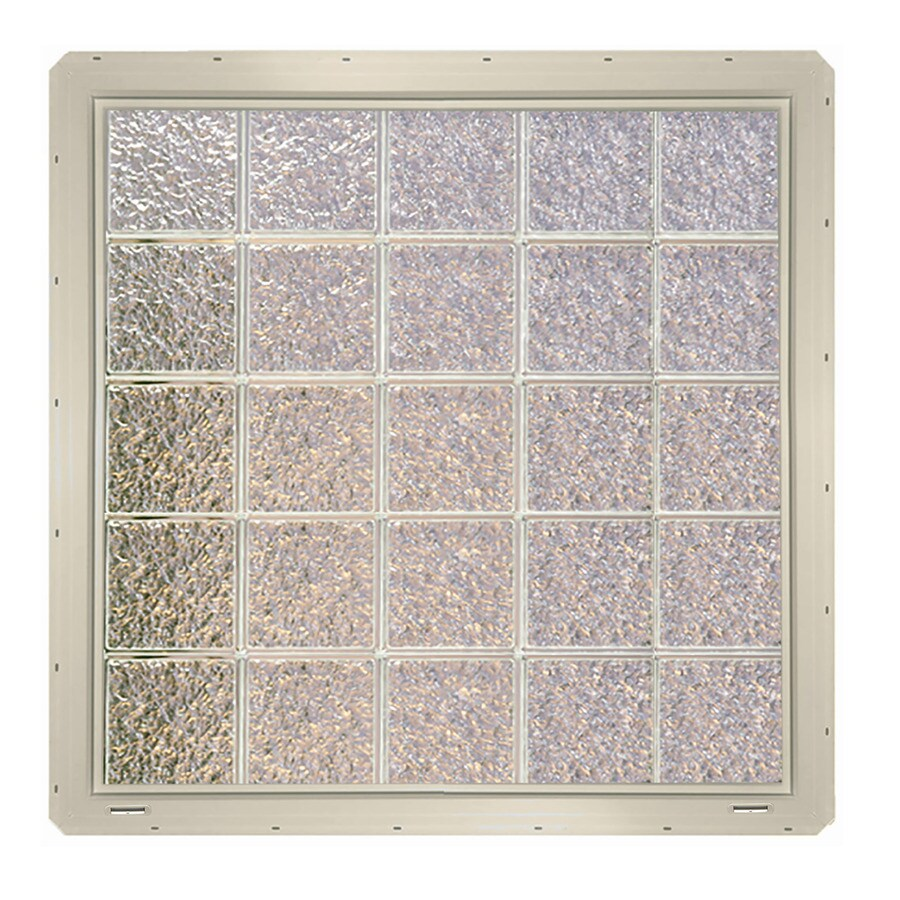 CrystaLok Ice Pattern Vinyl New Construction Glass Block Window (Rough Opening: 41-in x 41-in; Actual: 39.25-in x 39.25-in)