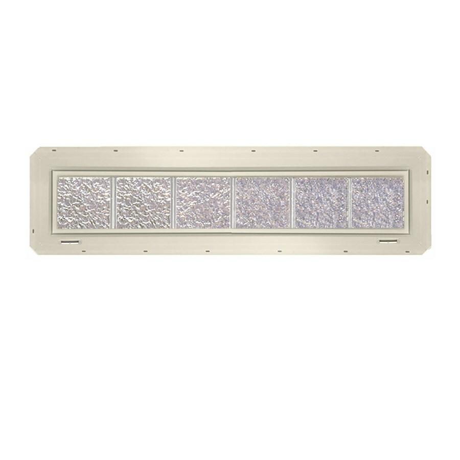 CrystaLok Ice Pattern Vinyl Glass Block Window (Rough Opening: 48.75-in x 10-in; Actual: 46.75-in x 9.25-in)