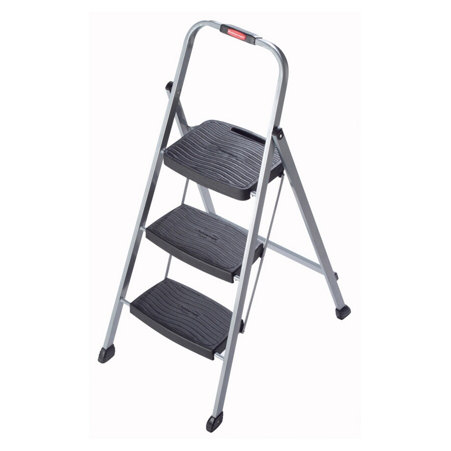 Rubbermaid 3-Step 200-lb Load Capacity Gray Steel Step Stool