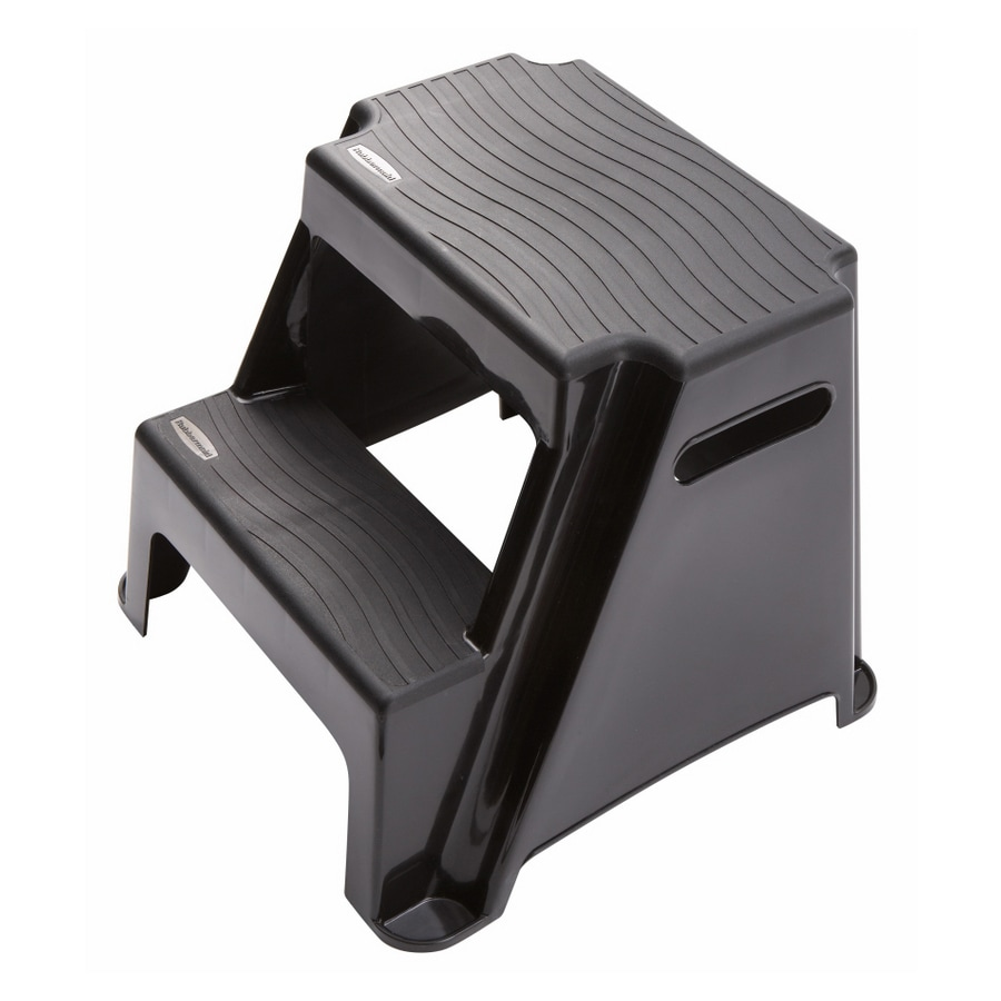 Rubbermaid 2-Step 300-lb Load Capacity Black Plastic Step Stool