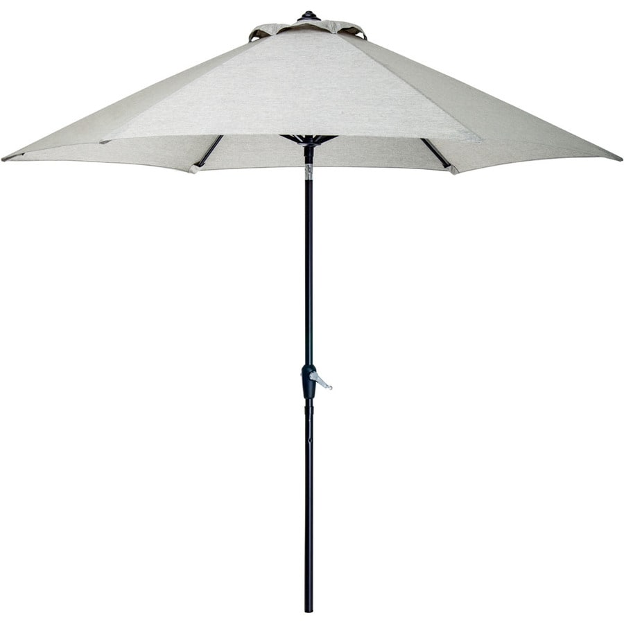 Hanover Outdoor Furniture Gray Market 9 Ft Push On Tilt Round Patio Umbrella With Aluminum Frame