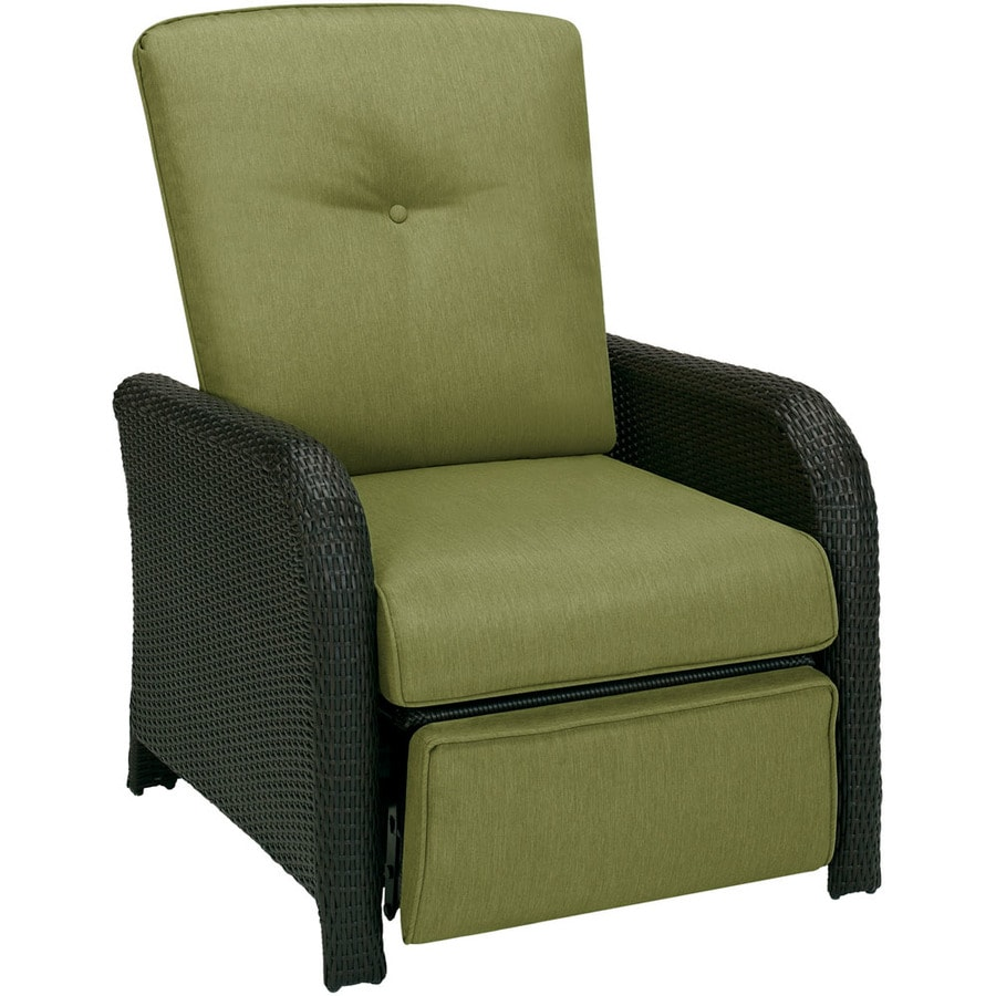 Hanover Outdoor Furniture Strathmere Aged Barrel Steel Wicker Patio Recliner  Chair With Cilantro Green Cushion