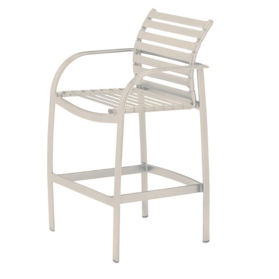 Sun Isle Preston Antique Bisque Aluminum Patio Bar Stool Chair