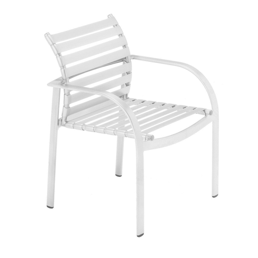 Shop sun isle preston 2 count white aluminum stackable for Stackable outdoor dining chairs