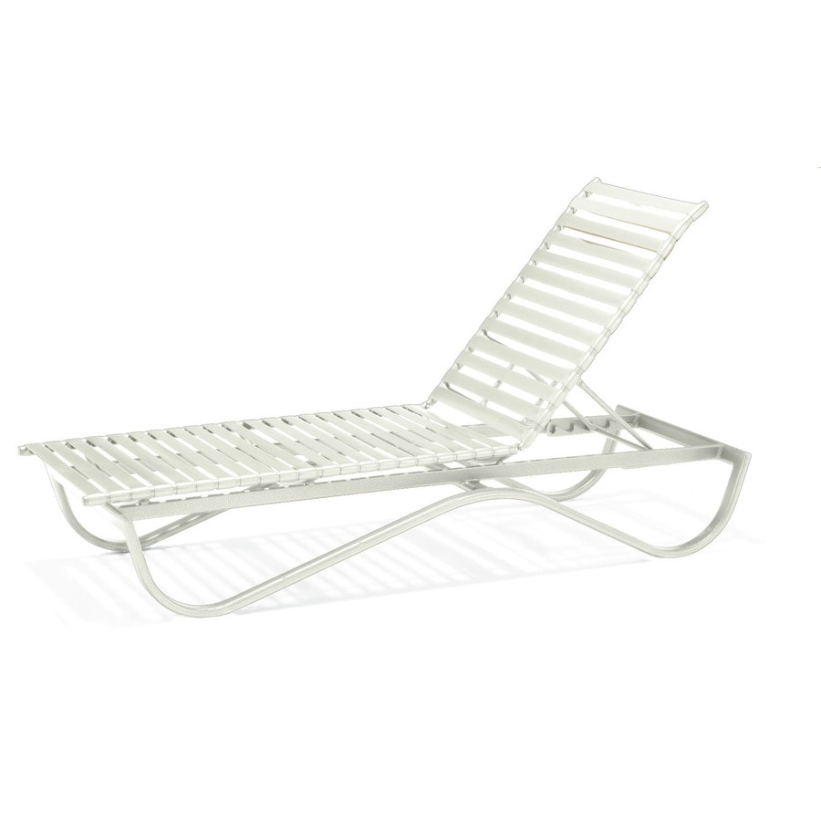 Sun Isle Preston White Aluminum Stackable Patio Chaise Lounge Chair