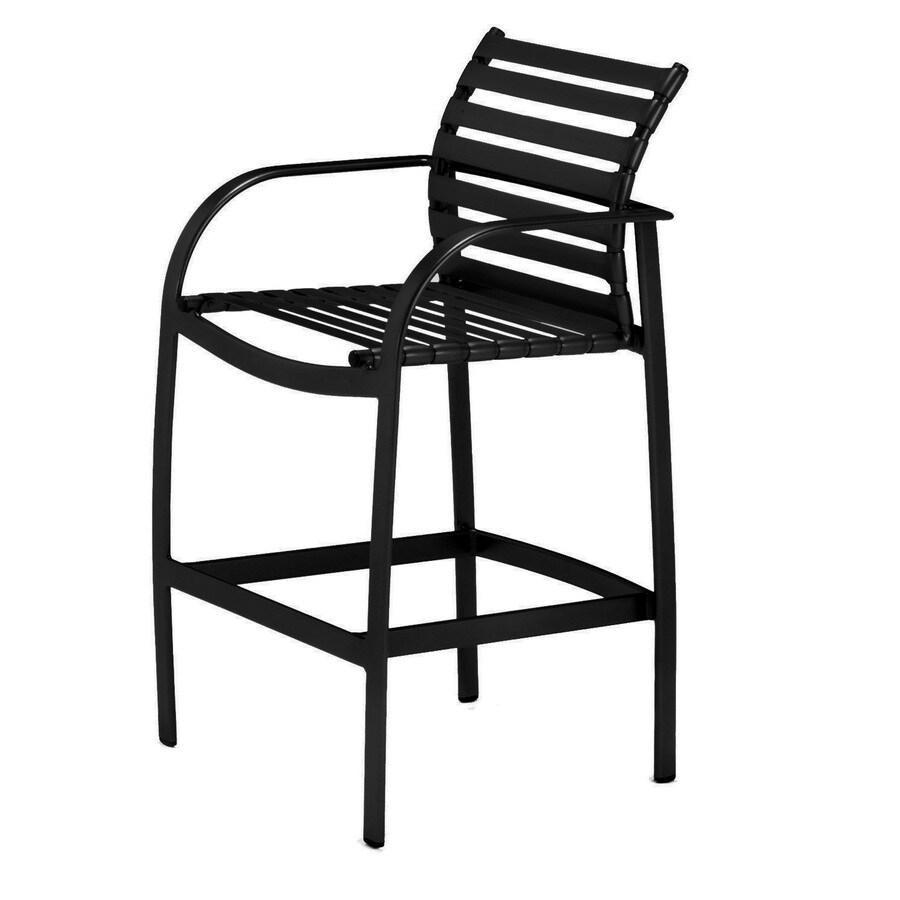 Sun Isle Preston Black Aluminum Patio Bar Stool Chair