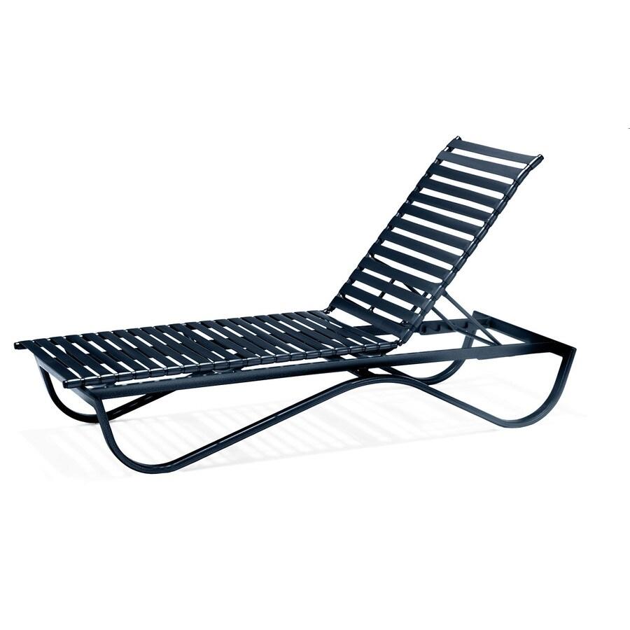 Sun Isle Preston Black Aluminum Stackable Patio Chaise Lounge Chair