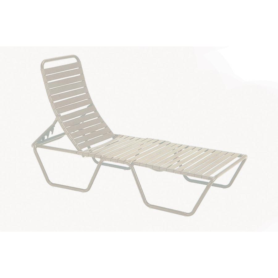 Sun Isle Parker Antique Bisque Aluminum Stackable Patio Chaise Lounge Chair