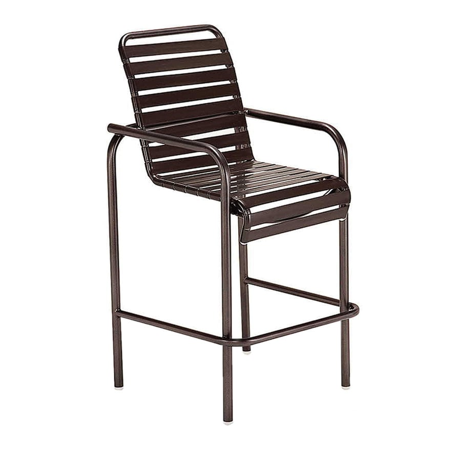 Sun Isle Parker Java Aluminum Stackable Patio Bar Stool Chair