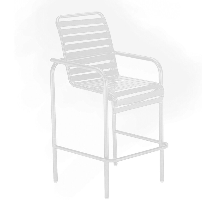 Sun Isle Parker White Aluminum Stackable Patio Bar Stool Chair