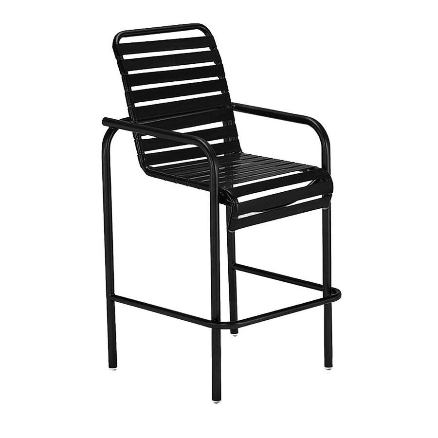 Sun Isle Parker Black Aluminum Stackable Patio Bar Stool Chair