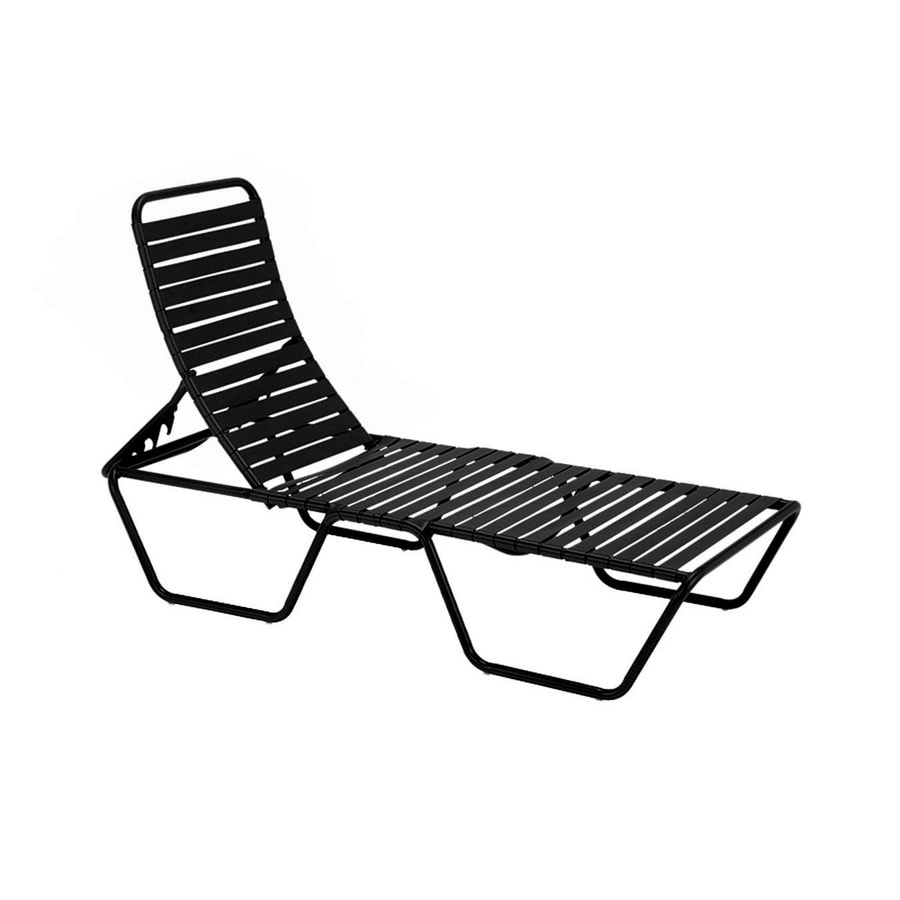 Shop sun isle parker black aluminum stackable patio chaise for Black outdoor chaise lounge