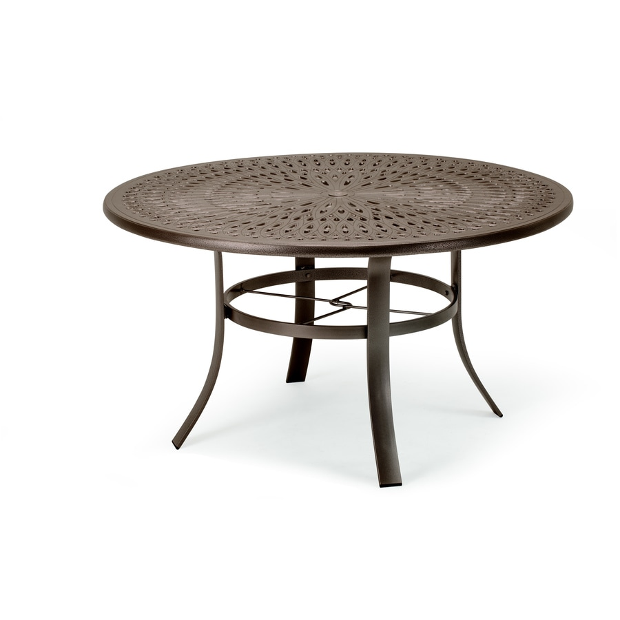 shop sun isle 42 in w x 42 in l round aluminum dining table at lowes com