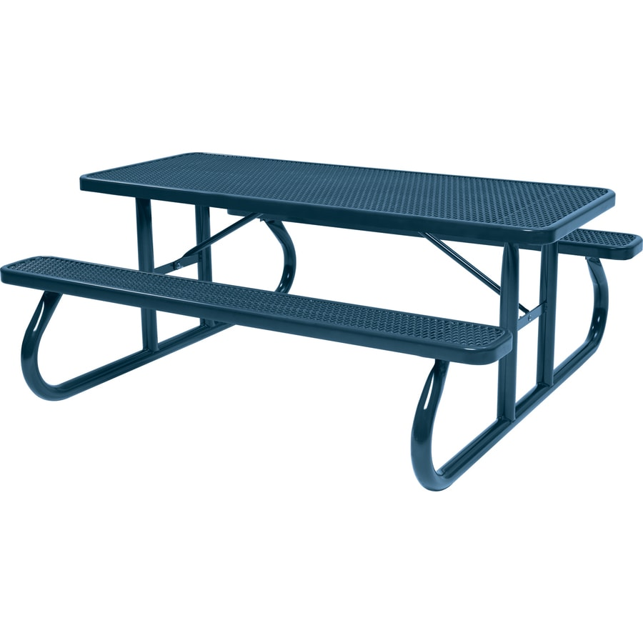 Sun Isle 96.3-in Blue Steel Rectangle Picnic Table