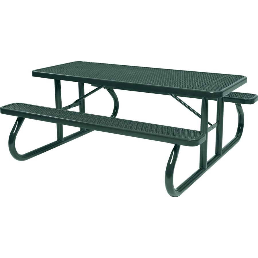 Sun Isle 96.3-in Green Steel Rectangle Picnic Table