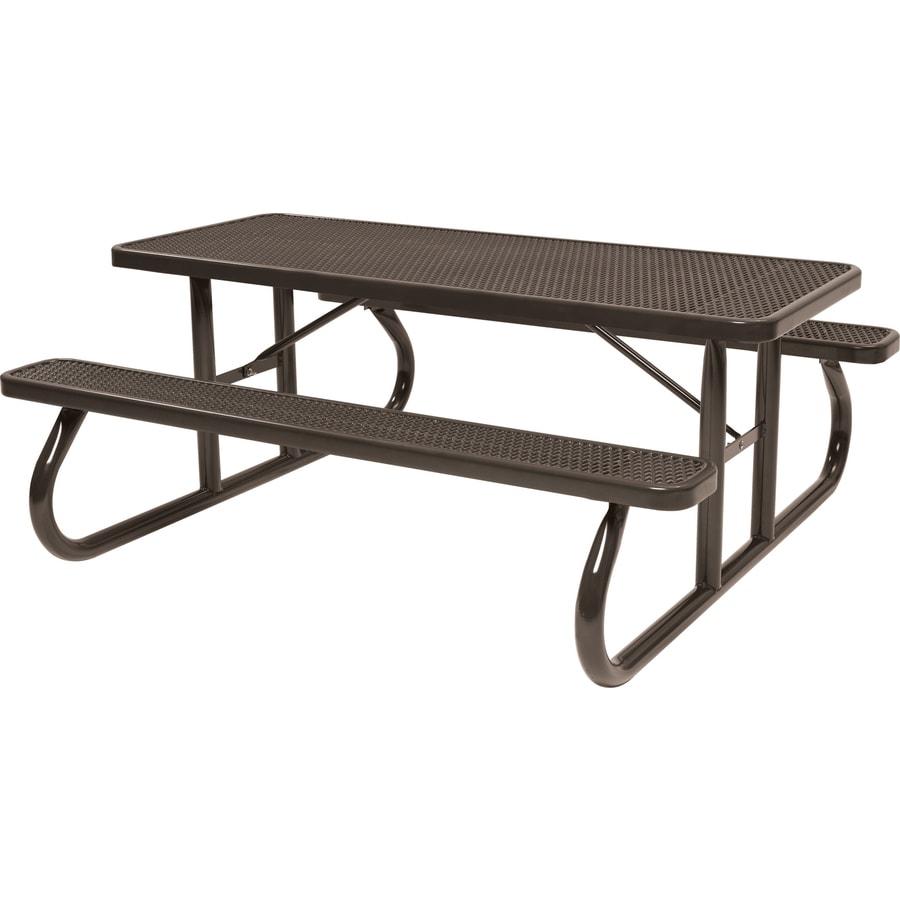 Sun Isle 96.3-in Brown Steel Rectangle Picnic Table
