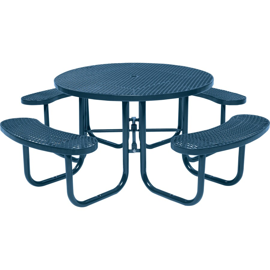 Sun Isle 46-in Blue Steel Round Picnic Table