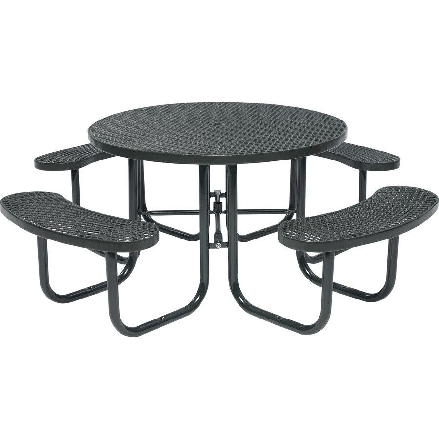 Sun Isle 46-in Black Steel Round Picnic Table