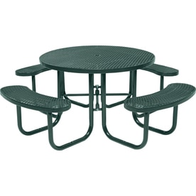 Sun Isle 46 In Green Steel Round Picnic Table