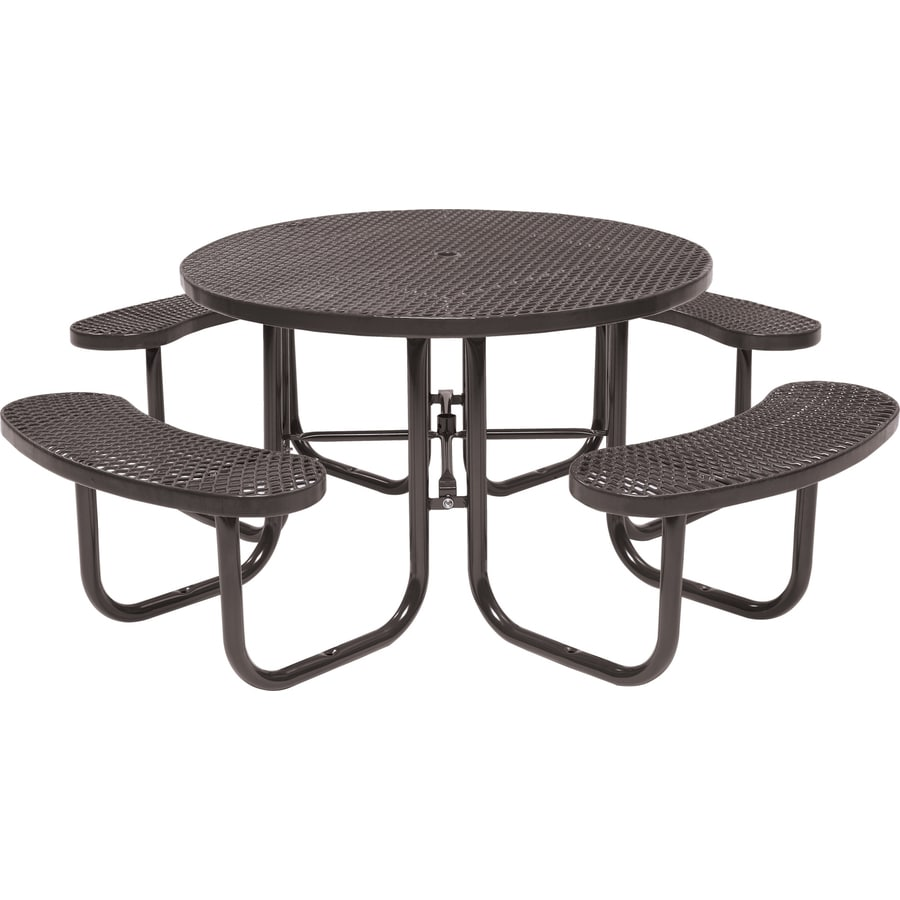 Sun Isle 46-in Brown Steel Round Picnic Table