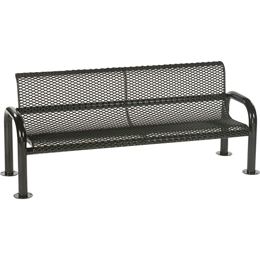 Sun Isle Harmony 28-in W x 83.1-in L Black Steel Patio Bench
