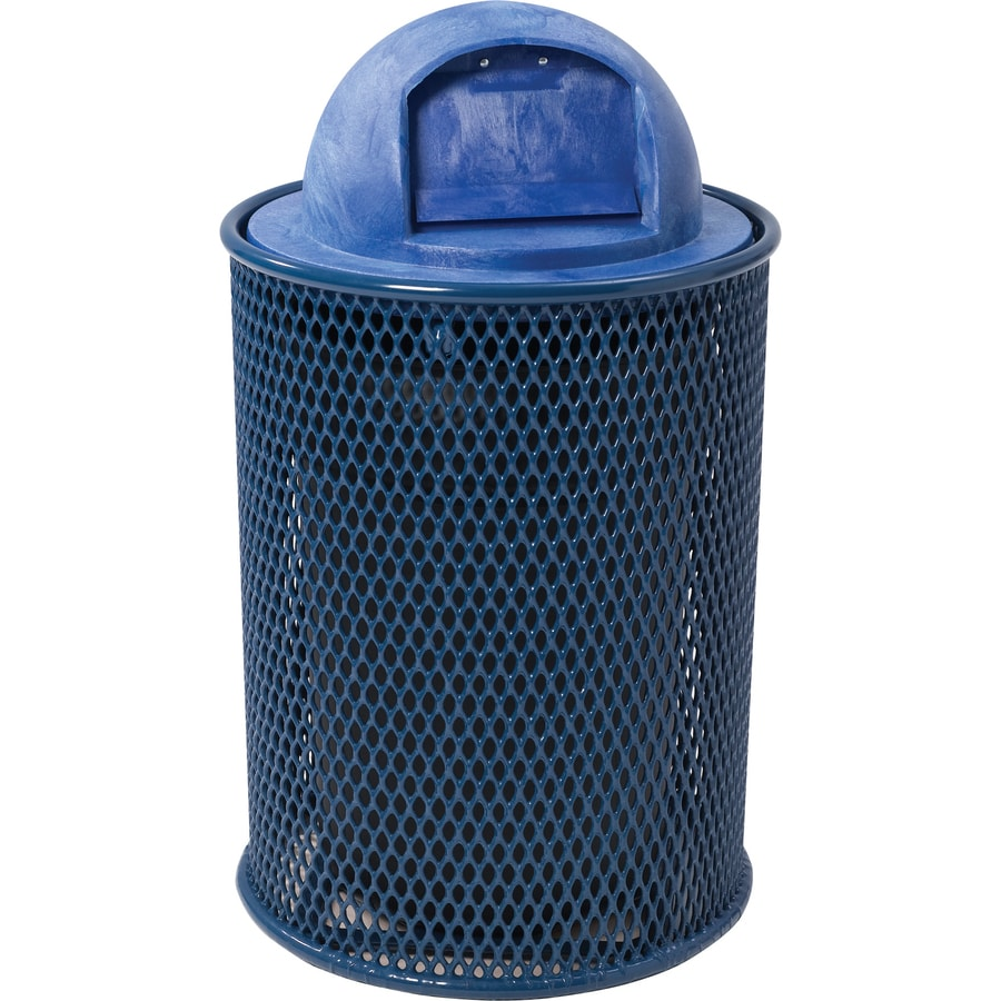 Sun Isle Park 32-Gallon Blue Metal Commercial/Residential Outdoor Trash Can with Lid