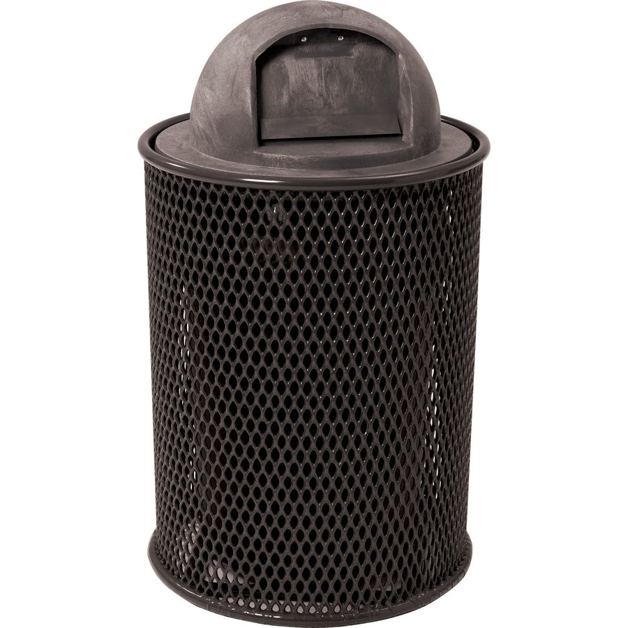 sun isle park 32gallon black metal outdoor trash can with lid