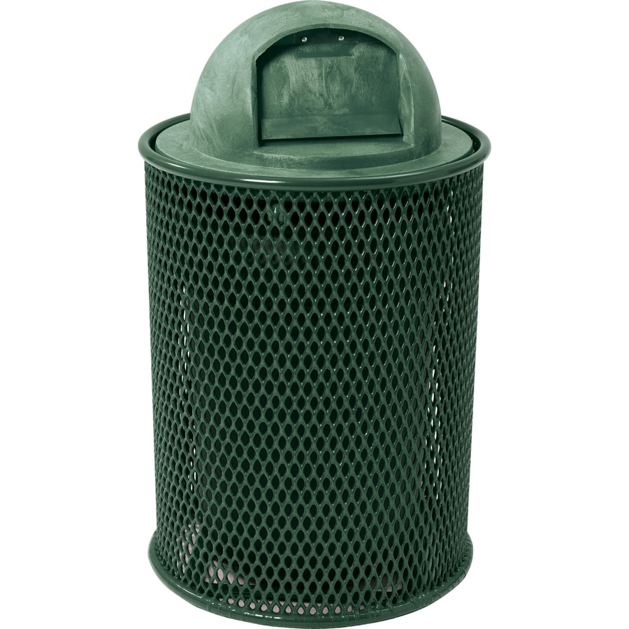 Sun Isle Park 32-Gallon Green Metal Commercial/Residential Outdoor Trash Can with Lid