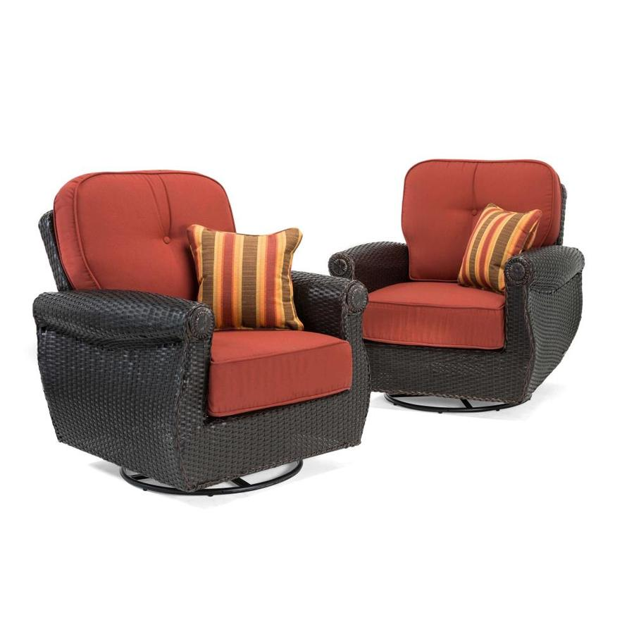 La Z Boy Outdoor Breckenridge Set Of 2 Wicker Swivel Rocker Patio  Conversation Chairs