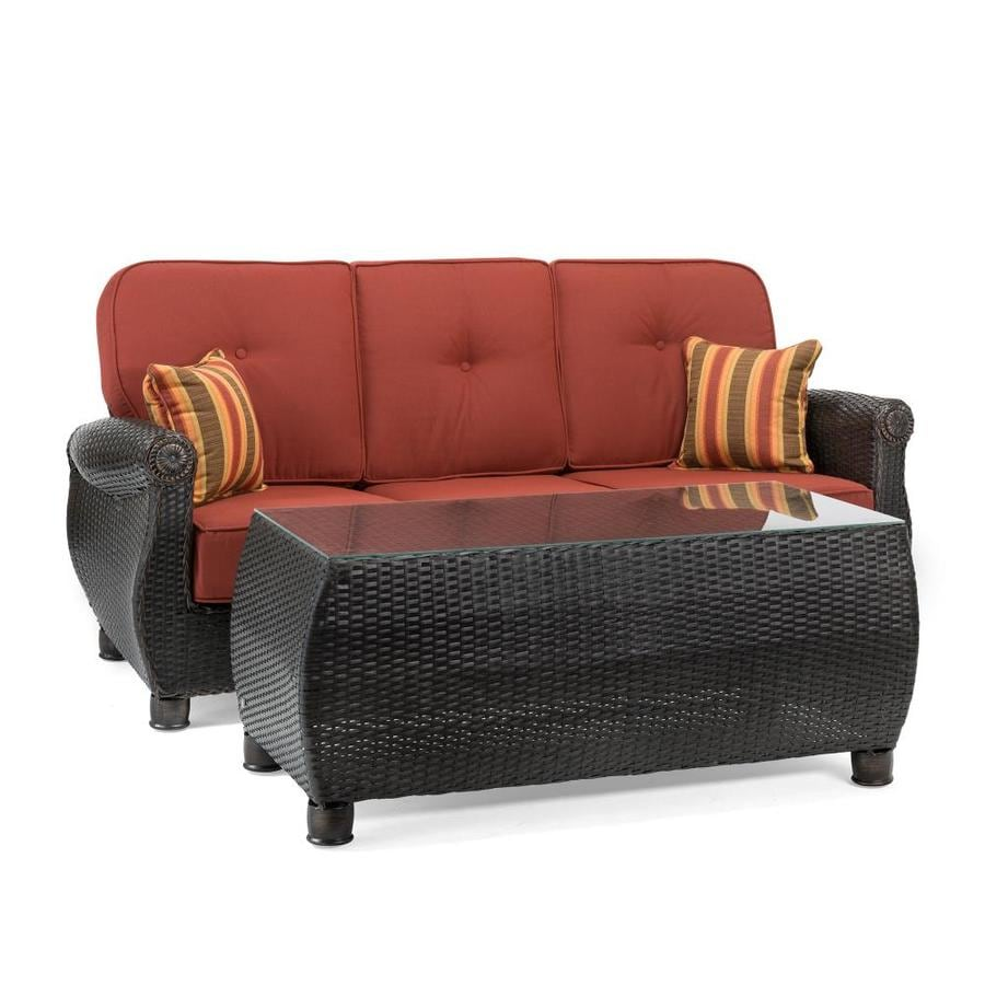 Shop La Z Boy Outdoor La Z Boy Outdoor Breckenridge 2pc Sofa Coffee Table Set Meridian Brick