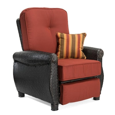 Tremendous Breckenridge Wicker Metal Spring Motion Recliner Chair S With Meridian Brick Red Sunbrella Cushioned Seat Unemploymentrelief Wooden Chair Designs For Living Room Unemploymentrelieforg