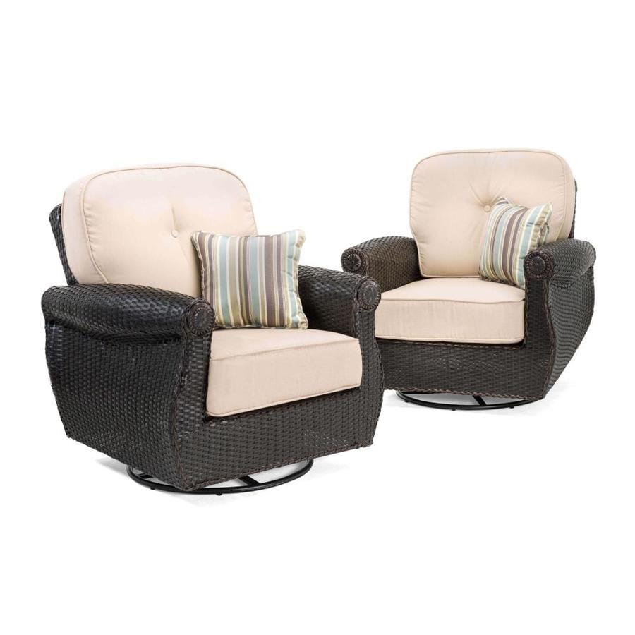 La-Z-Boy Outdoor Breckenridge 2-Count Brown Wicker Patio Conversation Chairs with Sand Cushions