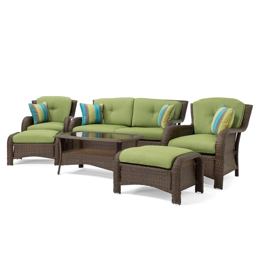 La z boy outdoor sawyer 6 piece steel frame patio conversation set with cilantro green sunbrella cushions