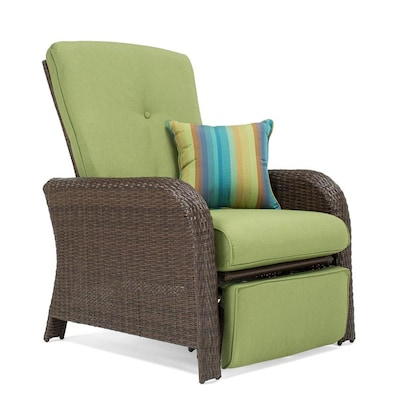 Marvelous Sawyer Wicker Metal Stationary Recliner Chair S With Cilantro Green Sunbrella Cushioned Seat Evergreenethics Interior Chair Design Evergreenethicsorg