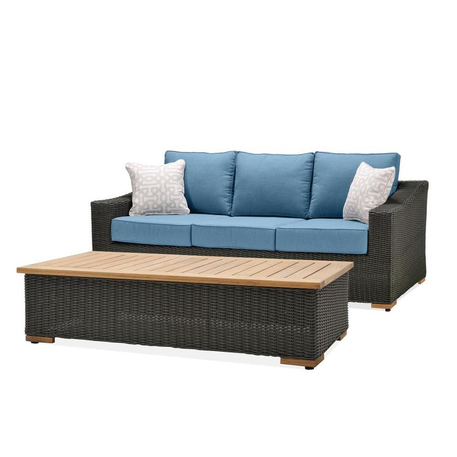 Shop La Z Boy Outdoor La Z Boy Outdoor New Boston 2pc Sofa Coffee Table Set Denim Blue At