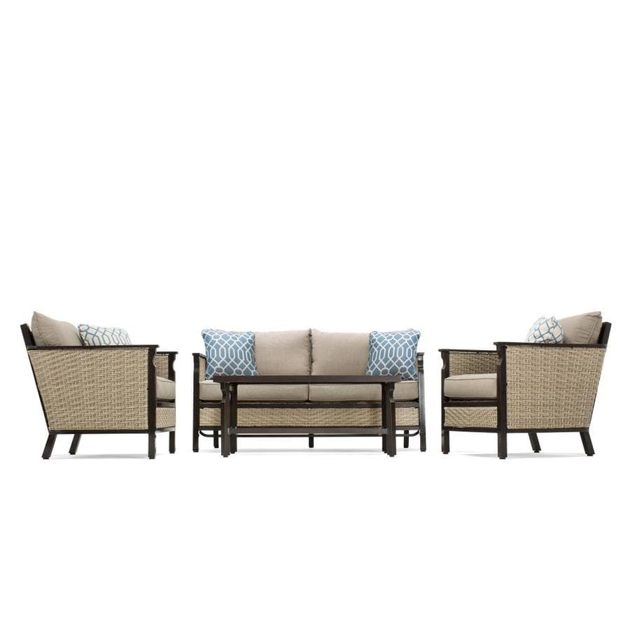 shop la z boy outdoor colton 4 piece wicker frame patio conversation